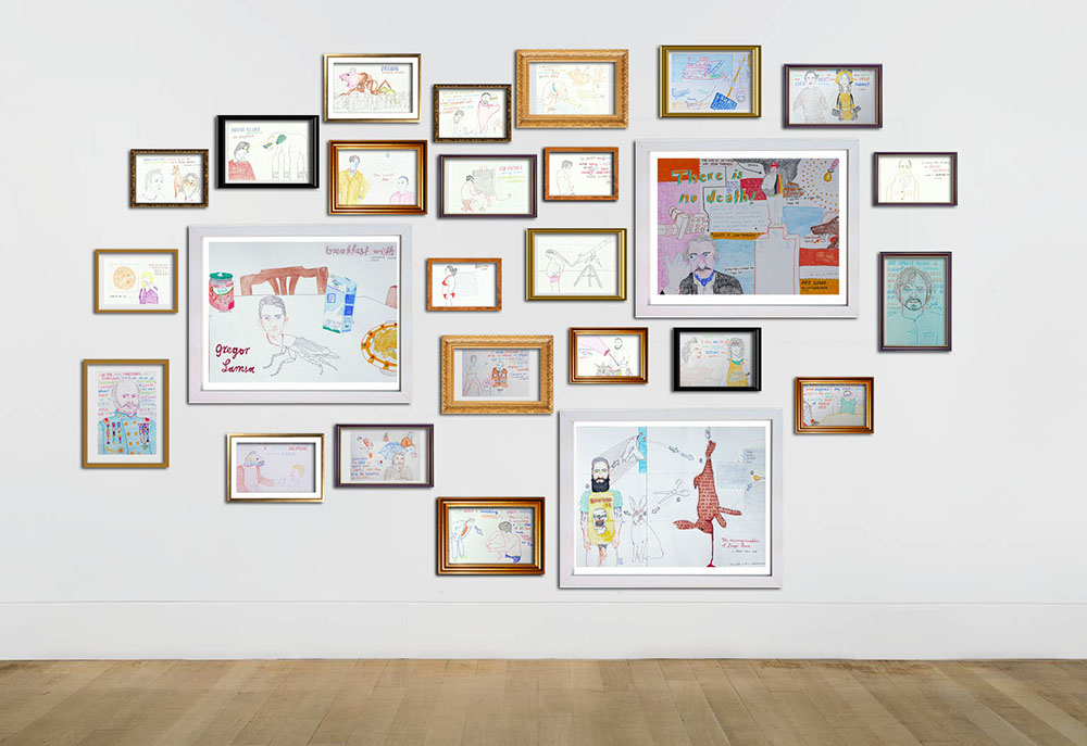 Wall-to-Book by Jay Rechsteiner, drawings, framed, in-situ