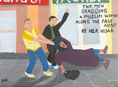 Bad Painting 42 by Jay Rechsteiner: Two teenagers dragging a Muslim woman along the pavement by her hijab.