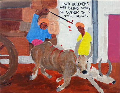 Bad Painting by Jay Rechsteiner, Two bullocks are being forceed to work to their death.