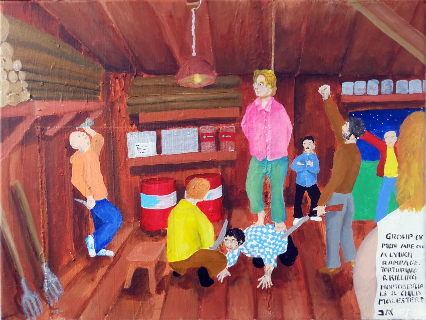 Bad Painting by Jay Rechsteiner, Group of men are on a lynch rampage, torturing & killing homosexuals & child molesters.