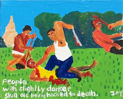Bad Painting by Jay Rechsteiner, People with slightly darker skin are being hacked to death.