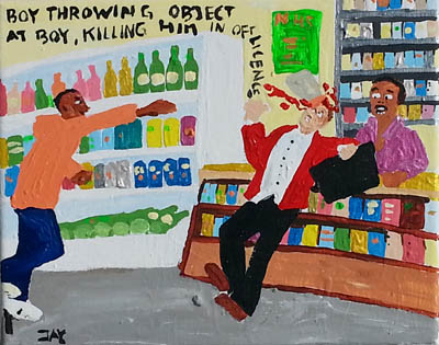 Bad Painting by Jay Rechsteiner, Boy throwing object at boy, killing him in off licence