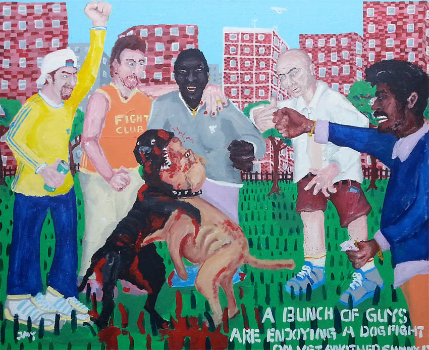 Bad Painting by Jay Rechsteiner, A bunch of guys are enjoying a dog fight on yet another sunny day. (Hackney Downs, London)