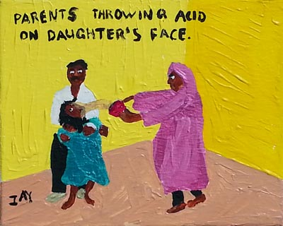 Bad Painting by Jay Rechsteiner, Parents throwing acid on daughter's face.