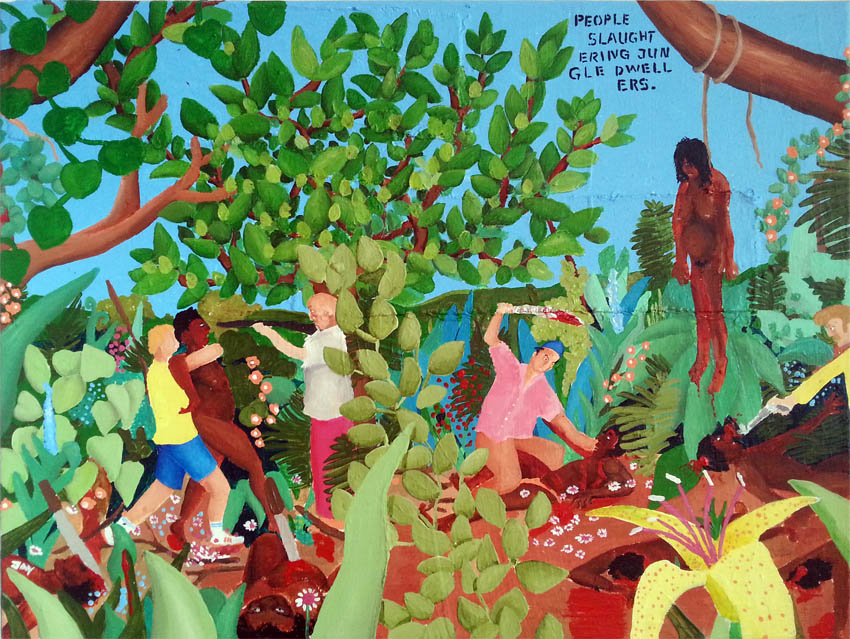 Bad Painting by Jay Rechsteiner, People slaughtering Jungle dwellers.