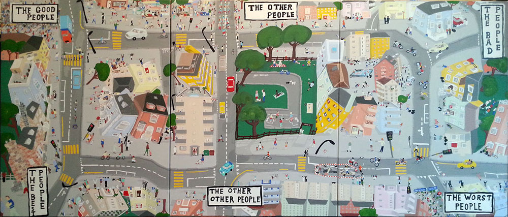 Quality of people, painting by Jay Rechsetiner, aerial view of city