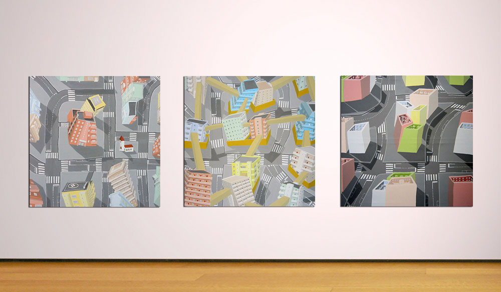 streets in-situ, paintings by Jay Rechsteiner, aerial view