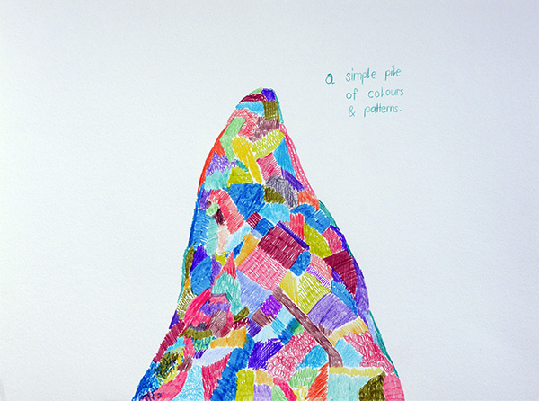 A smiple pile of colours and pattern, drawing by Jay Rechsteiner
