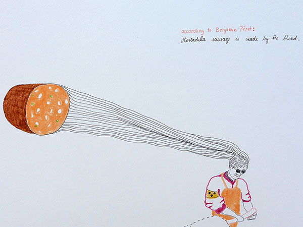 Mortadella is made by the blind, drawing by Jay Rechsteiner